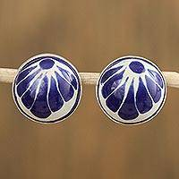 Ceramic button earrings, 'Tradition Blooms' - Talavera-Style Blue and White Round Ceramic Button Earrings