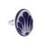 Ceramic cocktail ring, 'Tradition Bouquet' - Talavera-Style Blue and White Oval Ceramic Ring (image 2a) thumbail