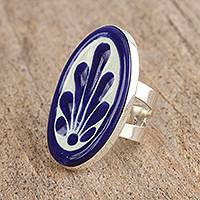 Ceramic cocktail wrap ring, 'Blue Fan Flower' - Talavera-Style Blue and White Ceramic Cocktail Wrap Ring