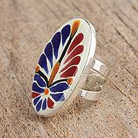 Ceramic cocktail ring, 'Harvest Unfurled' - Talavera-Style Blue and Orange Ceramic Cocktail Ring