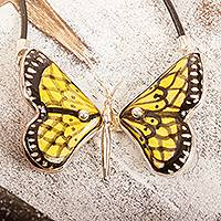 Ceramic pendant necklace, 'Gold Metamorphosis' - Yellow Ceramic Sterling Silver Butterfly Pendant Necklace