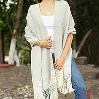 Cotton rebozo, 'Neutral Mix' - Ivory Diamond Motif on Grey-Beige Handwoven Cotton Rebozo
