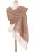 Cotton rebozo, 'Earth Hues' - Ivory Diamond Motif on Red-Brown Handwoven Cotton Rebozo (image 2a) thumbail