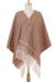 Cotton rebozo, 'Earth Hues' - Ivory Diamond Motif on Red-Brown Handwoven Cotton Rebozo (image 2b) thumbail