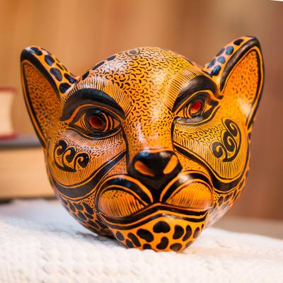 Ceramic mask, 'Watchful Jaguar' - Orange-Amber Ceramic Jaguar Decorative Mask Wall Art