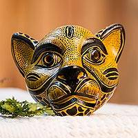 Ceramic mask, 'Spying Jaguar' - Ochre-Amber Ceramic Jaguar Decorative Mask Wall Art