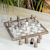 Onyx and marble chess set, 'Brown and Ivory' - Onyx and Marble Chess Set Crafted in Mexico