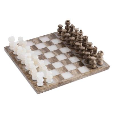 Onyx and Marble Chess Set Crafted in Mexico
