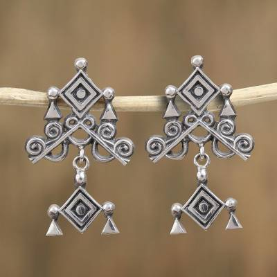 Sterling silver dangle earrings, Rhombus Eye