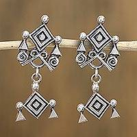Sterling silver dangle earrings, 'Godly Eye' - Ojo de Dios Sterling Silver Dangle Earrings from Mexico