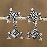 Sterling silver dangle earrings, 'Ancient Eye' - Sterling Silver Rhombus Dangle Earrings from Mexico