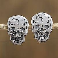 Sterling silver button earrings, 'Happy Skulls' - Sterling Silver Skull Button Earrings Crafted in Mexico