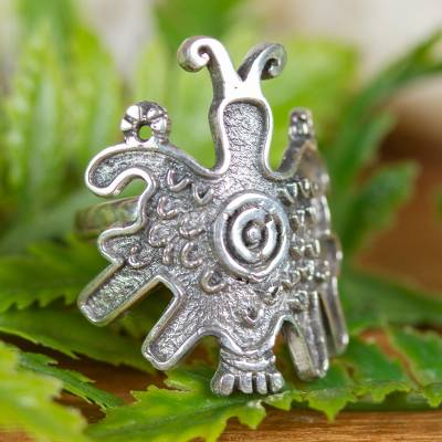 Pre-Hispanic Butterfly Sterling Silver Wrap Ring