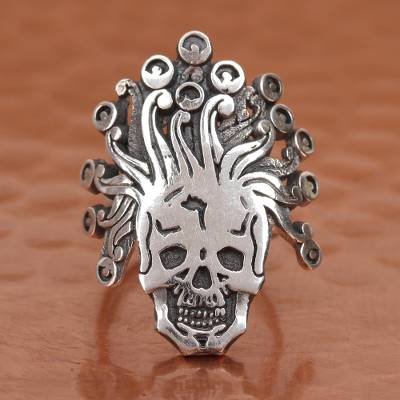 Sterling silver wrap ring, 'Miquiztli' - Aztec God of Death Sterling Silver Wrap Ring from Mexico