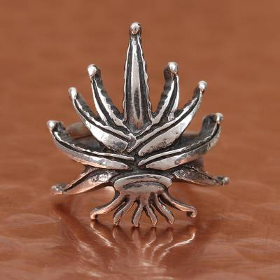 Sterling Silver Agave Plant Wrap Ring from Mexico