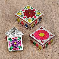 Steel decorative boxes, 'Floral Party' (set of 3) - Three Floral Embossed Steel Decorative Boxes from Mexico