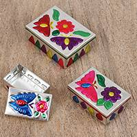 Steel decorative boxes, 'Adventures in Liberty' (set of 3) - Three Butterfly-Themed Steel Decorative Boxes from Mexico