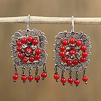 Sterling silver dangle earrings, 'Framed Roses' (Mexico)