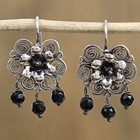 Sterling silver filigree chandlier earrings, 'Ornate Blooms in Black' - Black Bead and Sterling Silver Filigree Chandelier Earrings