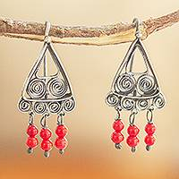 Sterling silver filigree chandelier earrings, 'Fiery Filigree' - Oxidized Filigree Chandelier Earrings with Crystal Beads