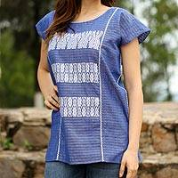 Handwoven cotton blouse, 'Cornflower Bliss' - Embroidered Blouse in Cornflower Blue from Mexico