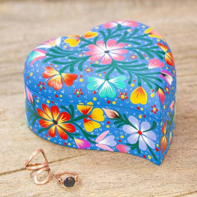 Wood decorative box, 'Tender Heart' - Hand Painted Copal Wood Heart Shaped Decorative Box