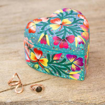 Wood decorative box, 'Fond Heart' - Hand Painted Copal Wood Heart Shaped Decorative Box