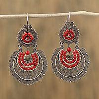 Sterling silver filigree dangle earrings, 'Antique Scarlet' (Mexico)