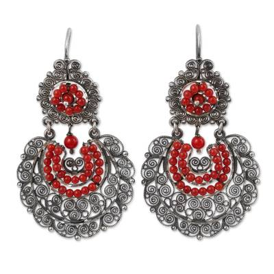 Sterling Silver Filigree Dangle Earrings from Mexico