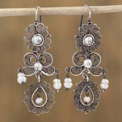 Cultured pearl filigree dangle earrings, 'Evolution of Style' - Cultured Pearl Filigree Dangle Earrings from Mexico