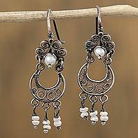 Cultured pearl filigree dangle earrings, 'Colonial Antique' - Crescent-Shaped Cultured Pearl Filigree Dangle Earrings