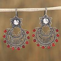 Sterling silver filigree dangle earrings, 'Colonial Corona' - Sterling Silver Filigree Dangle Earrings with Glass Beads