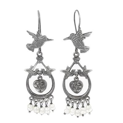 Hummingbird Motif Cultured Pearl Dangle Earrings from Mexico