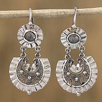 Sterling silver filigree dangle earrings,