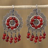 Sterling silver filigree chandelier earrings, 'Scarlet Rain' (Mexico)