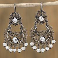 Cultured pearl filigree dangle earrings, 'In the Beginning' - Spiral Motif Cultured Pearl Filigree Earrings from Mexico