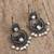 Cultured pearl filigree dangle earrings, 'In the Beginning' - Spiral Motif Cultured Pearl Filigree Earrings from Mexico (image 2b) thumbail