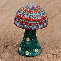 Wood figurine, 'Forest Mushroom' - Copal Wood Alebrije Mushroom Figurine from Mexico