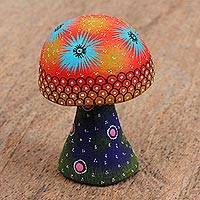 Wood figurine, 'Colorful Mushroom' - Hand Painted Wood Alebrije Mushroom Figurine from Mexico