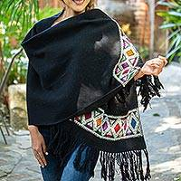Wool-embroidered cotton shawl, 'Floral Geometry' - Handwoven Cotton Shawl with Wool Embroidery from Mexico