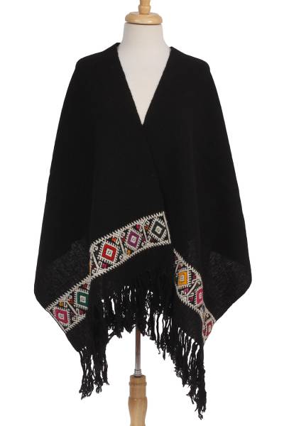 Wool-embroidered cotton shawl, 'Geometric World' - Handwoven Geometric Cotton Shawl from Mexico