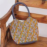 Cotton tote, 'Grand Adventure' - Hand Woven Cotton Tote Handbag from Mexico