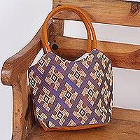 Cotton tote, 'Geometric Adventure' - Hand Woven Cotton Tote Handbag from Mexico