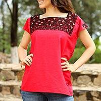Cotton blouse, 'Crimson Flair' - Handwoven Cotton Blouse in Crimson from Mexico