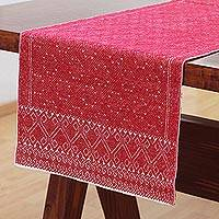 Cotton table runner, 'Chili Geometry' - Handwoven Cotton Table Runner in Chili from Mexico