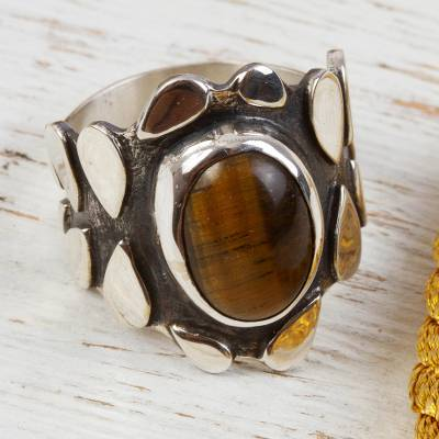 Tiger's eye single stone ring, 'Dramatic Beauty' - Tiger's Eye and Sterling Silver Single Stone Ring