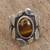 Tiger's eye single stone ring, 'Dramatic Beauty' - Tiger's Eye and Sterling Silver Single Stone Ring (image 2b) thumbail