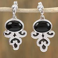 Obsidian dangle earrings, 'Sophisticated Mystique' - Handcrafted Sterling Silver and Obsidian Dangle Earrings
