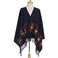 Cotton shawl, 'Colorful Maize' - Maize Motif Embroidered Cotton Shawl in from Mexico