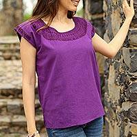 Cotton blouse, 'Royal Fiesta' - Eggplant Purple Short Sleeve Embroidered Cotton Blouse